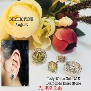 Italy White Gold 21k Diamonds Inset Stone