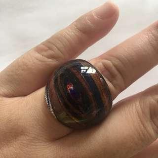 MURANO glass ring, black