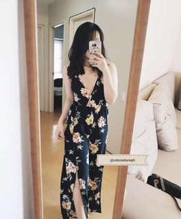 Floral romper with slits