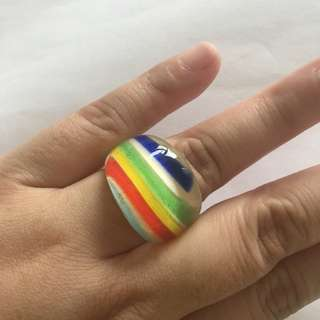 MURANO glass ring, rainbow