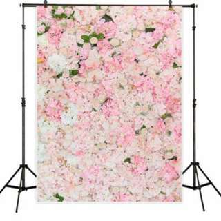 Pink Floral Flower Wall Photobooth Backdrop