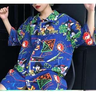虎鶴 霹靂 拳法 李小龍 太極 龍 藍色 襯衫