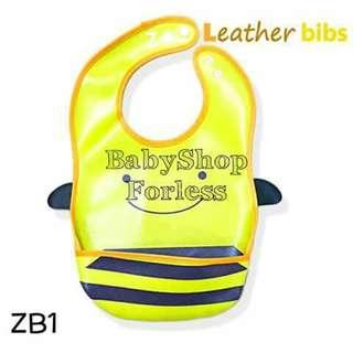 Zoo Leather Bib with Food Catcher Pocket - ZB1