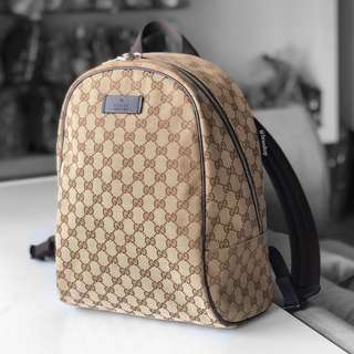 Authentic Gucci Signature Canvas Zip Backpack