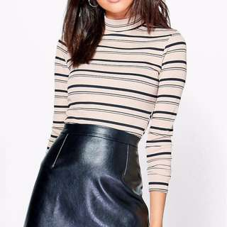 petite ribbed striped beige mock neck cropped top