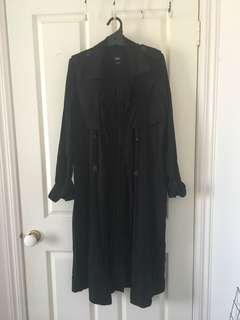 Sportsgirl Black Long Trench Coat - Size 8