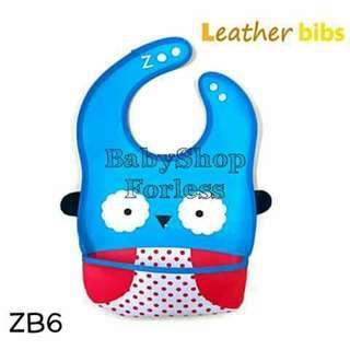 Zoo Leather Bib with Food Catcher Pocket - ZB6