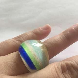 MURANO glass ring, blue & green