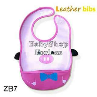Zoo Leather Bib with Food Catcher Pocket - ZB7
