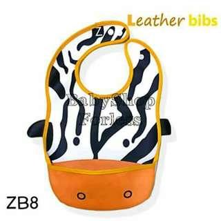 Zoo Leather Bib with Food Catchet Pocket - ZB8