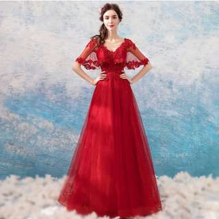 Gown Collection - Elegant Red V Neck Scarf Sleeves Design A Lining Gown