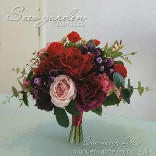紅色新娘絲花花球 wedding bouquet