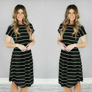 Striped Dress Black White
