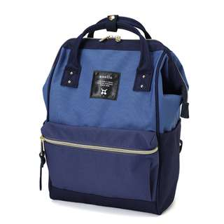 [100% Authentic] Anello Polyester Canvas Mini Backpack (Navy Multi)