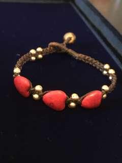 民族手繩 心 紅 木 bracelet 飾物 手鍊