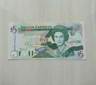East Caribbean States ND (1994) 5 Dollars Unc Crisp Note
