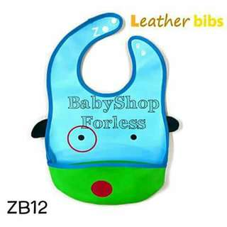 Zoo Leather Bib with Food Catcher Pocket - ZB12