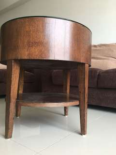 Round Wooden Side Table with Glass Top #nogstday