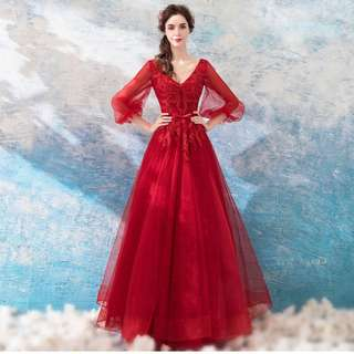 Gown Collection - Deep V Neck Design Red Crystals Decor Gown