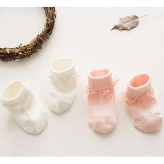 3 Pairs Pink/White Princess Baby Socks Infant