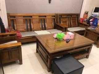 樟木沙發組 1+2+3含大小茶几 一組出清價29999