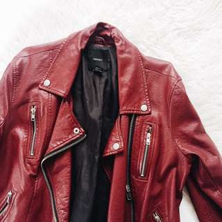 Forever 21 Faux Red Leather Jacket