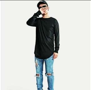 Men's oversized and longline long sleeve t shirt