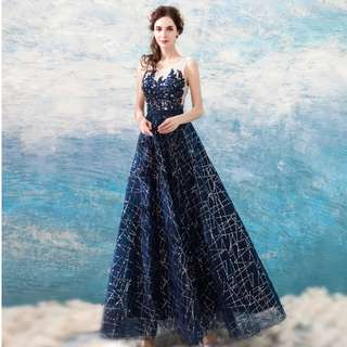 Gown Collection - Blinkie Crystal Beads Navy Blue Gown