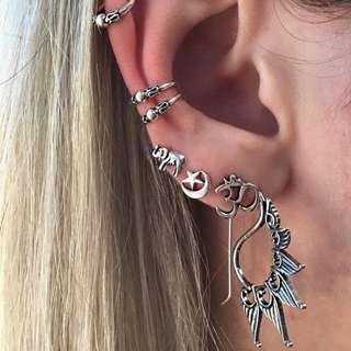 7pcs Bohemian Retro Elephant Earrings
