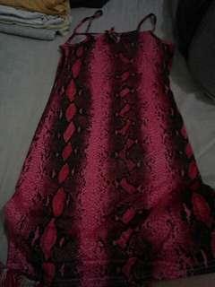 Snake skin print pink dress