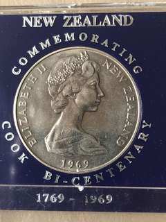 1969 New Zealand Cook Bi-centenary, $1 Coin