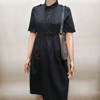Burberry Brit Black Pleated Collared Cotton Dress: Repriced
