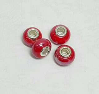 18pcs of Bright Red Porcelain Beads