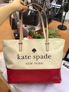 Kate spade WKRU5470 拼色帆布經典手手袋