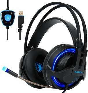 LED LIGHT!!  SADES R2 Gaming Headset!!