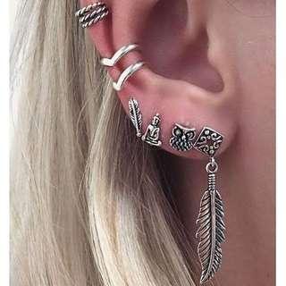6pcs Bohemian Retro Owl Earrings