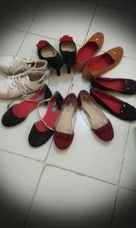 Flat shoes, high heels, sneakers
