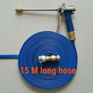 """Charm blue spray gun head (High pressure) with 15 M long foldable hose (The inside diameter is 1/2"""" about 12.5mm )"""