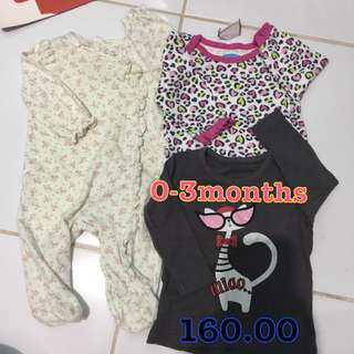 Preloved baby girl Onesie and Frogsuit 0-3months