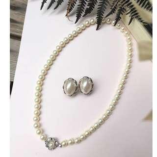 Skin&Moss Vintage復古日本米白珍珠項鍊淡水珍珠銀製小牡丹背後扣項鍊