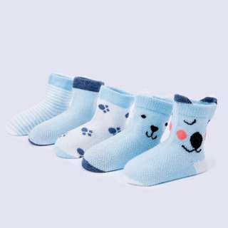 Blue Group Baby Socks 5 Pairs of Cartoon Mesh