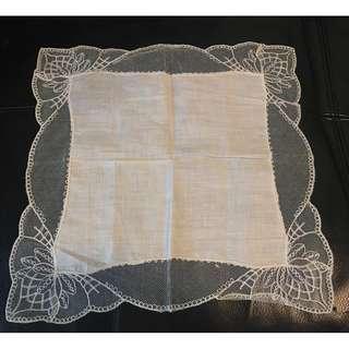 (減價)1980英國人手勾花喱士絹手帕