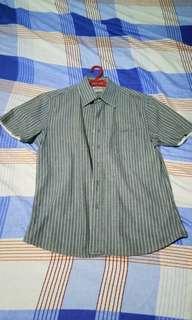 Grey short sleeve polo button down