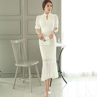 Lace Short Sleeve Keyhole Mermaid Bodycon Midi Dress