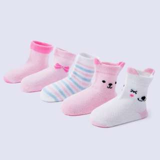 Light Powder Group Baby Socks 5 Pairs of Cartoon Mesh