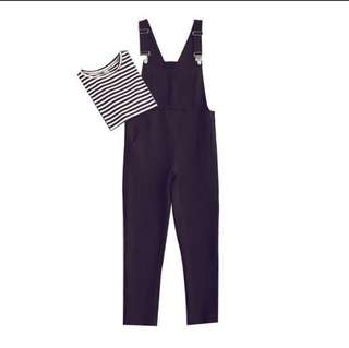🚚 黑白條紋長袖上衣+黑色雪紡吊帶長褲 二件組