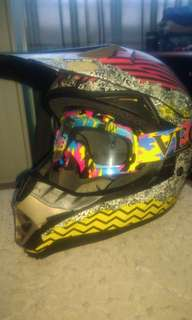 Motocross Helmet and goggles size L