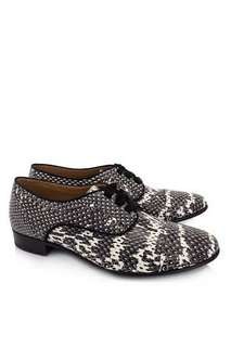 very good condition Authentic Lanvin snakeskin derby laceup ribbon brogues - 36