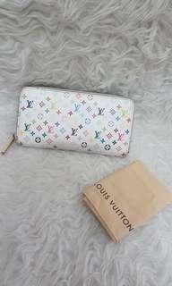 Authentic lv wallet mc white zipper