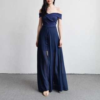 🚚 深藍色平口網紗開叉洋裝